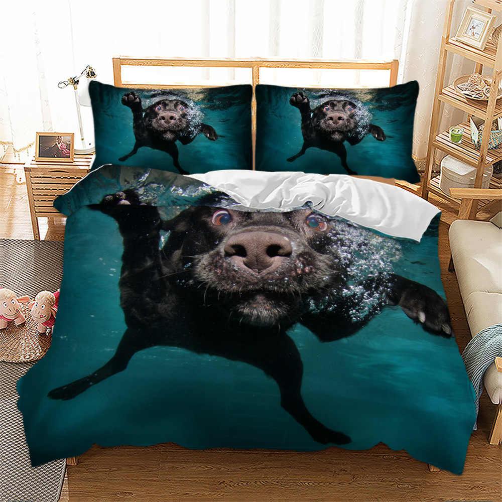 Claroom 3d bonito jogo de cama do cão 3 pçs duvet cover conjunto com fronhas completo/rainha/rei/twin tamanho consolador conjunto dg78 #