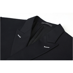Image 4 - Shenrun גברים חליפות Slim Fit חדש אופנה חליפת טור כפתורים כפול שיא דש חיל הים כחול שחור חתונה חתן מסיבת נשף סקיני תלבושות