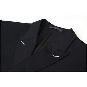 Image 4 - Shenrun 남자 정장 슬림 맞는 새로운 패션 정장 더블 브레스트 피크 옷깃 네이비 블루 블랙 웨딩 신랑 파티 댄스 파티 스키니 의상