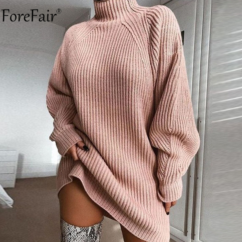 Image 3 - Forefair Turtleneck Long Sleeve Sweater Dress Women Autumn Winter Loose Tunic Knitted Casual Pink Gray Clothes Solid Dresses-in Dresses from Women's Clothing