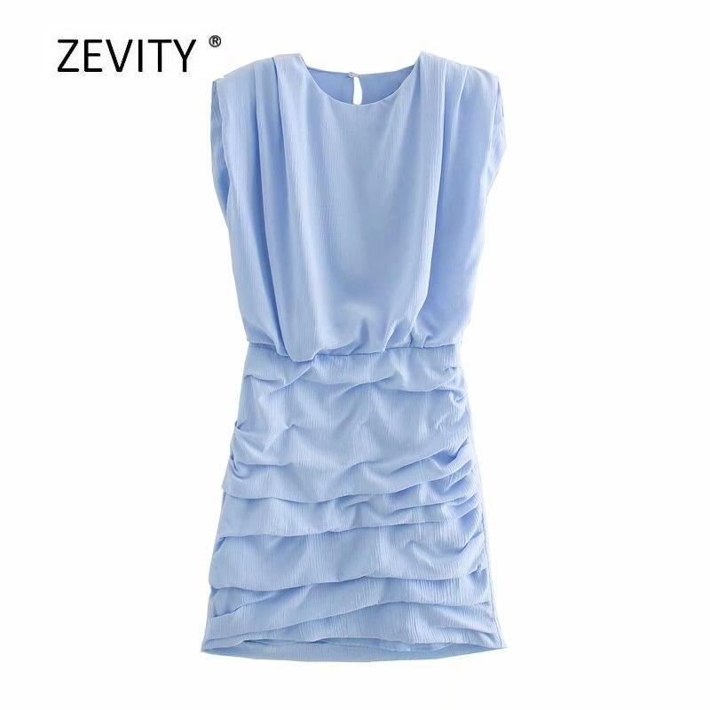 New Women elegant o neck sleeveless solid color pleated slim dress female side zipper vestido chic summer business Dresses DS433