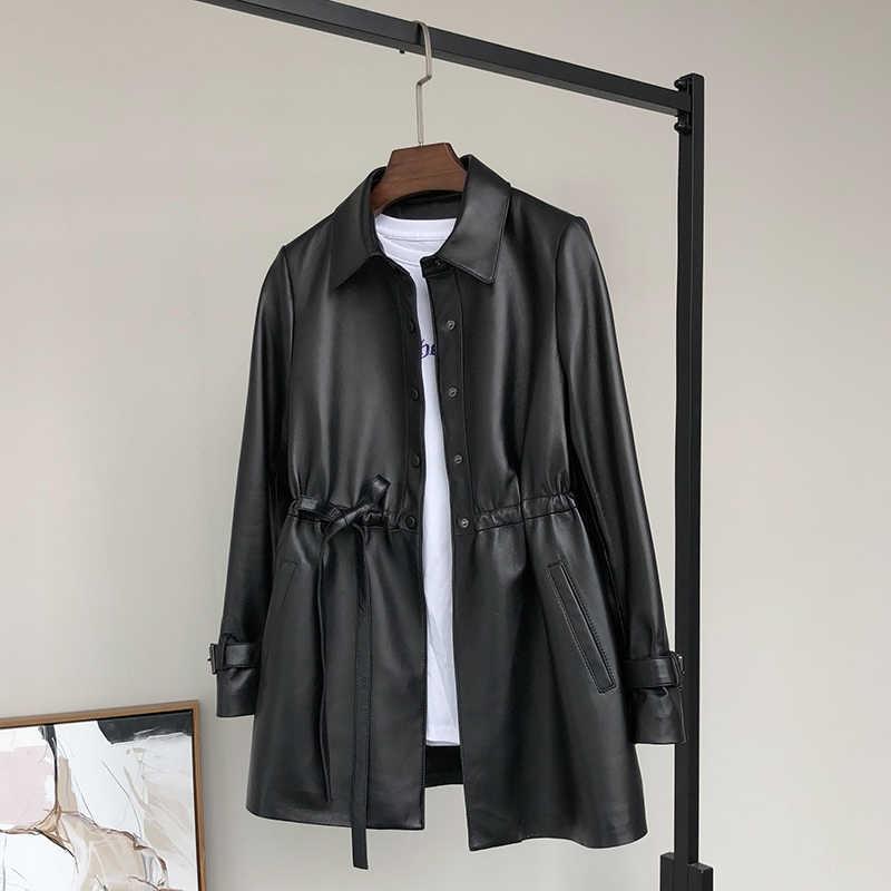 Nerazzurri vestes en Faux cuir femmes manches longues cordon automne 2019 vêtements pour femmes grande taille veste de cuir synthétique polyuréthane noir 4xl