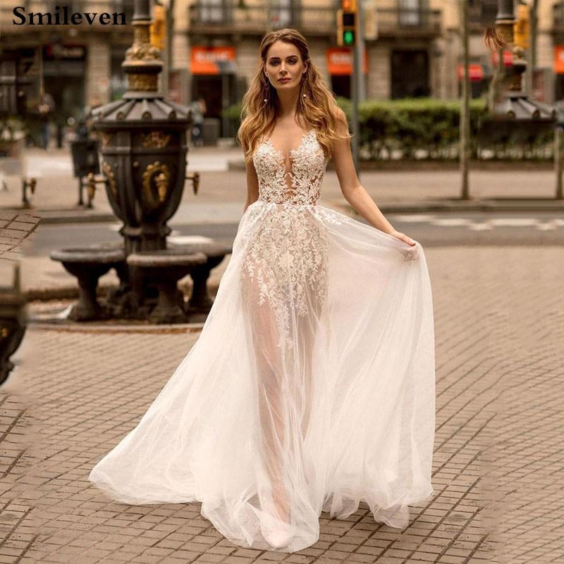Smileven Boho Wedding Dress Sexy Lace A Line Bride Dresses Appliqued Wedding Gowns See Through Vestido De Noiva