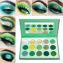 DE'LANCI Makeup Eyeshadow Palette 15 Color Matte Shimmer Pigmented Glitter Eye Shadow Palette Rainbow Neon Make Up Palette-Green new brand 9 color pigmento eye shadow palette professional shimmer matte eyeshadow make up palette maquiagem
