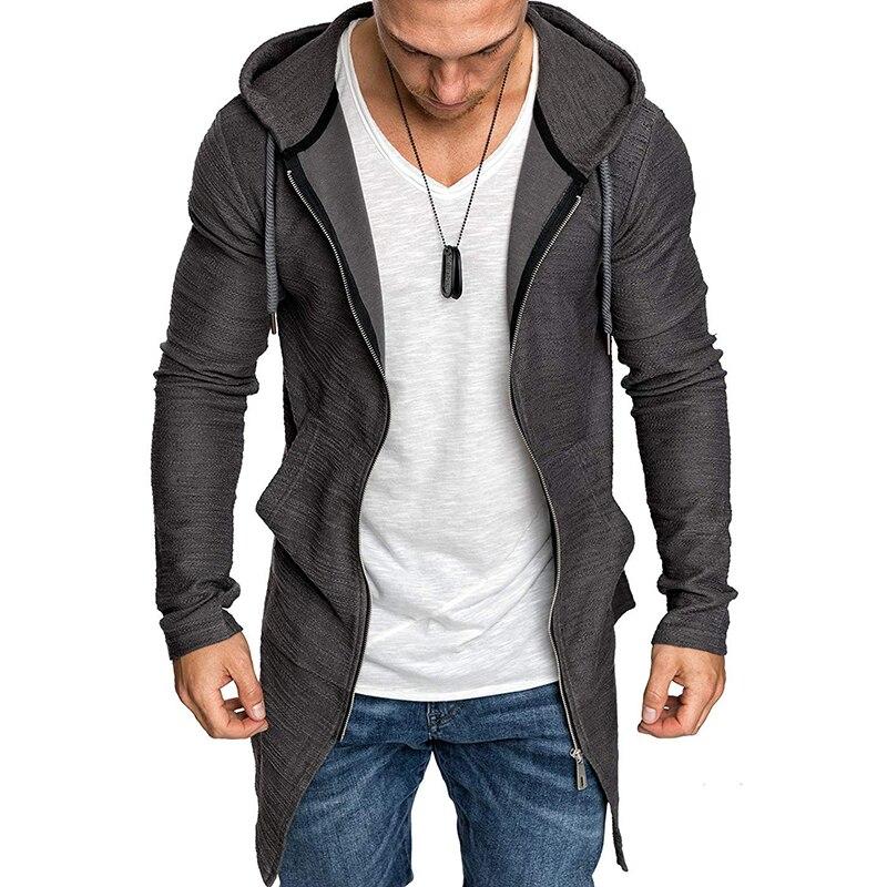 Jacket Cardigan Trench-Coat Longline Streetwear Men's Zipper Dovetail Hem