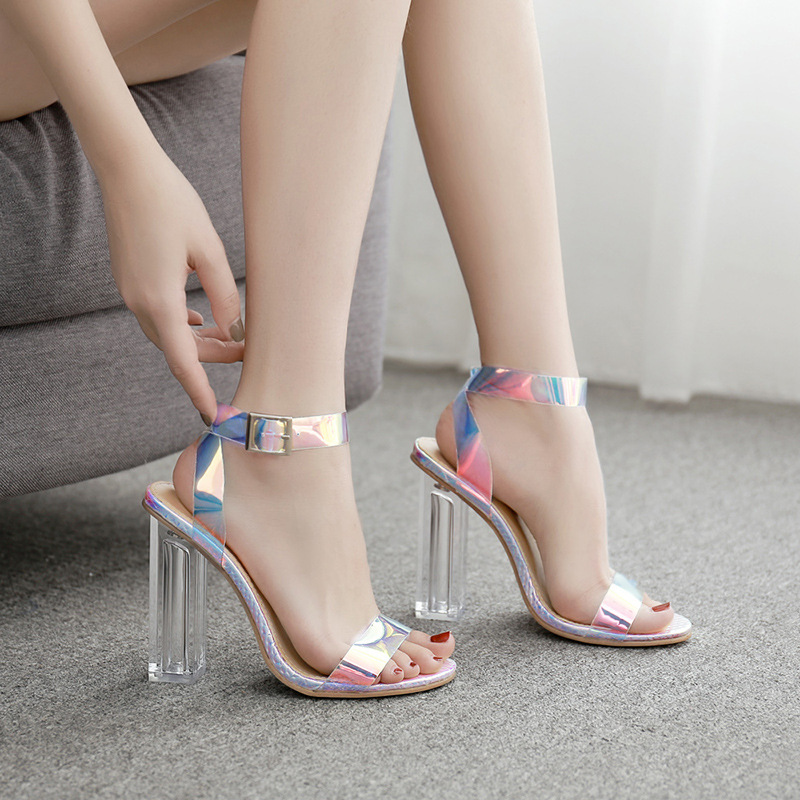 High Quality 2020 PVC Clear Transparent Strappy Buckle Sandals Women Sandals Shoes Celebrity Wearing Simple Style High Heels