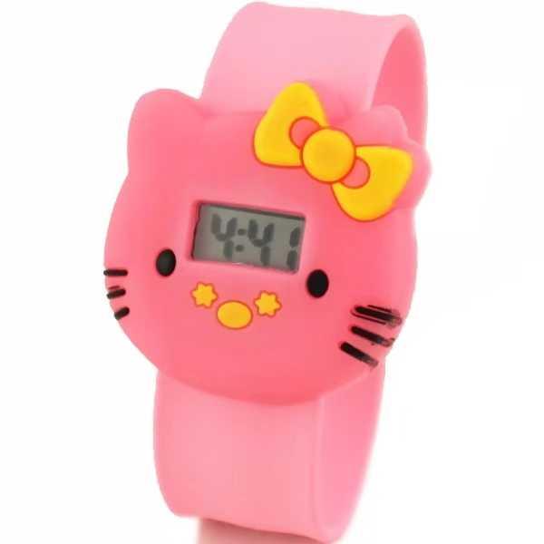 Hello Kitty เด็กอิเล็กทรอนิกส์เทป patted นาฬิกา KT แมววุ้นสีเด็กนักเรียนนาฬิกา