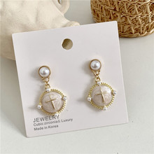 Baroque retro Port style Glaze temperament Cross  Korean women aretes de mujer pearl earrings korean