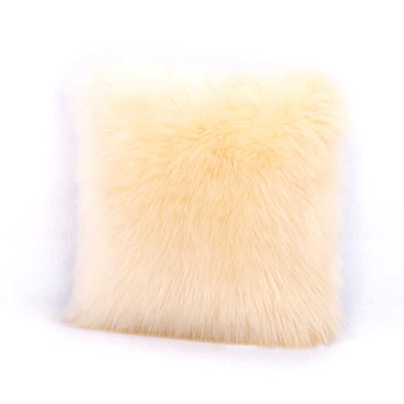 40*40cm puszyste Faux futrzana poduszka pokrywa przytulne pluszowe poszewka na poduszkę na krzesło sypialnia