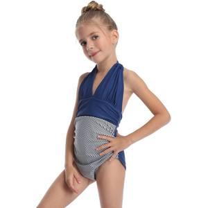 Swimwear Lola Bimba Girls Bikini One-Piece Newborn for Summer Fashion Striped Splicing