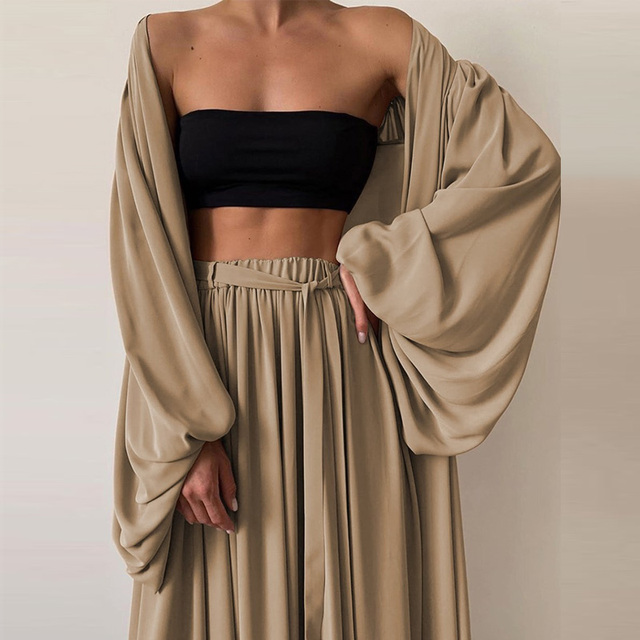 Soft Women Three Piece Set  Wrap Cardigan Top And High Waist Pants  Casual Simple  3