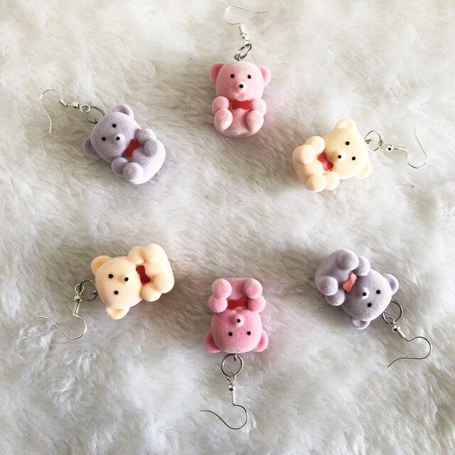 Фото 6 пар серьги капельки с изображением медведя в форме конфет