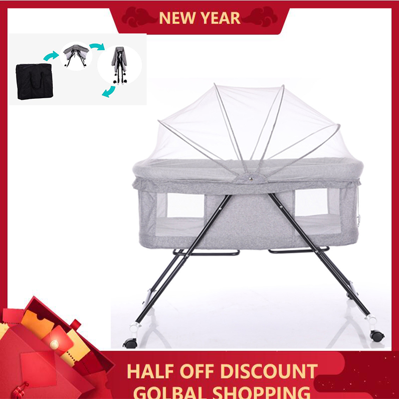 Multi-function Portable Baby Bed For Kids With Parents' Normal Big Bed Infant Travel Sleeper Cot Breathable Folding Rocking Crib