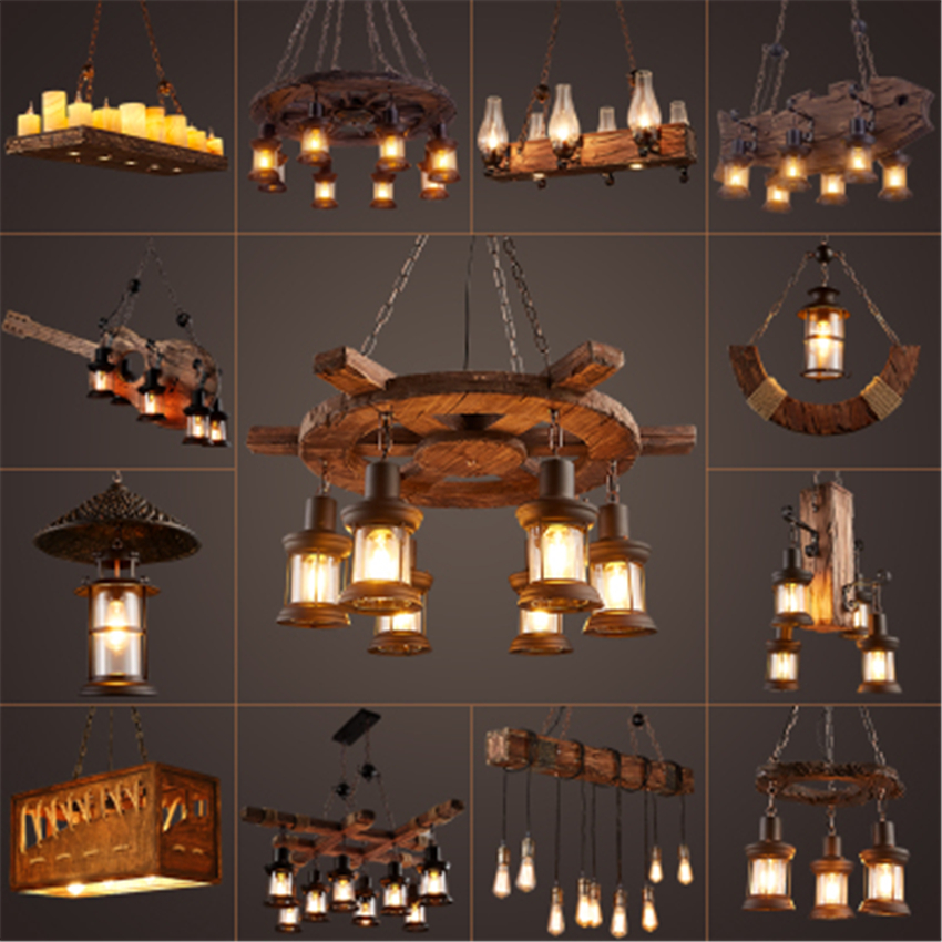 Nordic Industrial Wind Loft LED Pendant Lights Retro Solid Wood Pendant Lamps Living Roon Restaurant Cafe Bar Decor Hanging Lamp