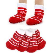 Милые хлопковые теплые мягкие удобные нескользящие носки для питомцев, кошек, собак, рождественских снежинок, лап, лося, 4 шт