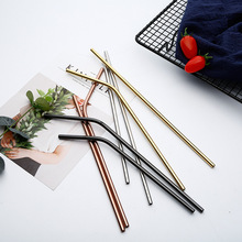 4 kinds of color Stainless Steel Straws Reusable Straight Bent Metal Drinking Straw With Cleaner Brush Set Bar Party Accessory 1 2 4 6 8pcs lot reusable stainless steel drinking straw metal straight curved with 1 2 3 cleaner brush kit home bar drinkware
