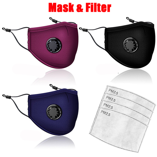 Anti Pollution PM2.5 Mask Washable Reusable Muffle Face Mouth Mask Flu Dust exhaust Activated Carbon Filter Respirator Masks
