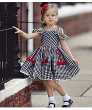 2019 Summer Girls Dress Cotton Short Sleeve Children Dresses Lace Plaid Bow Kids Dresses for Girls Fashion Girls Clothing summer dress for girls children clothing beach style banana dots printed short sleeve bow knot casual dresses girls tutu dress