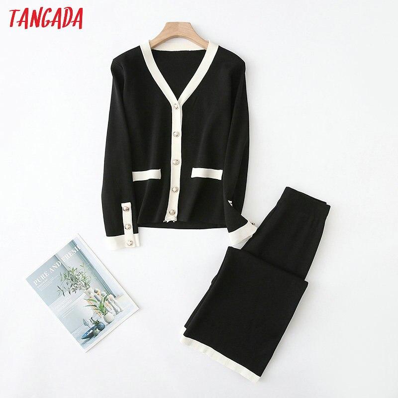 Tangada Korea Chic Beige Black Knitted Suit Women Pants Set Autumn Winter Knitted Suit 2 Piece Set Causal Cardigan Pants YU17