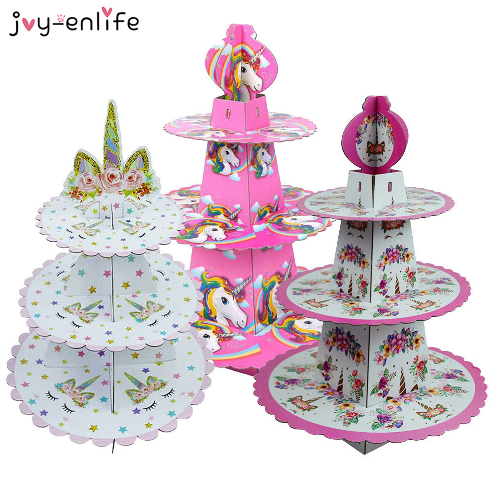 1set Birthday Party Decoration Rainbow Unicorn 3-tier Paper Cake Stand Baby Shower Unicornio Party Cupcake Stand Holder Supplies