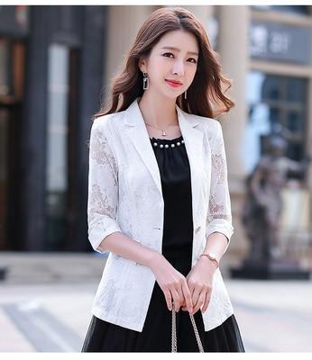 2021 Women Blazer Lace Printed Temperament Slim Suit One Button Notched Office Lady Black White Pink Blue Blazers Plus Size 3xl 5
