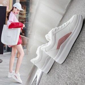 Image 2 - SWYIVY PU フラットヒールカジュアルシューズ女性スニーカー 2019 冬ショートぬいぐるみ白スニーカー女性暖かい通気性女性の靴