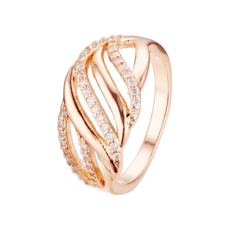 Женское кольцо из розового золота 585 пробы, роскошное обручальное кольцо с фианитом, обручальное кольцо|Кольца для помолвки|   | АлиЭкспресс
