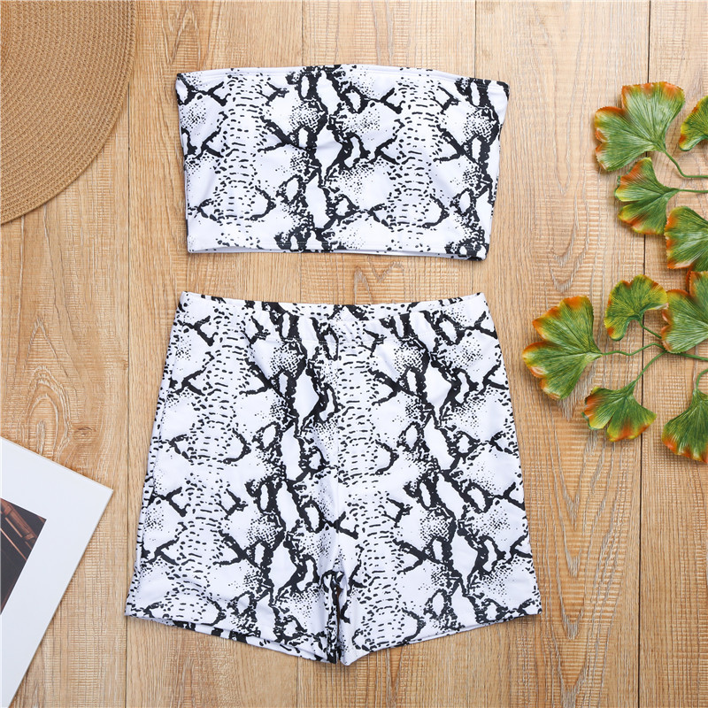 Snake Skin Two Piece Set Women Strapless Low Cut Backless Crop Top Elastic Waist Shorts Summer Fashion Beachwear 2 Pcs Outfits 6