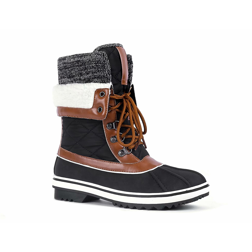 Maxmuxun Winter Snow Boots Women Multi color Stitching Lace Lamb Boots Warm Waterproof Non Slip Shoes image