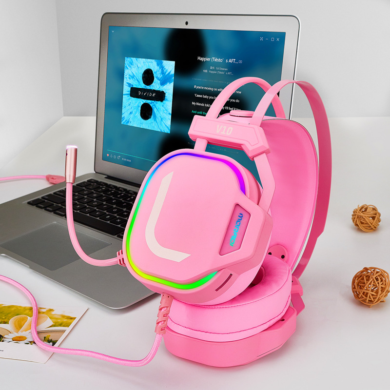 V10 Pink Girl Gaming Headphones USB 7.1 Stereo PC Game Headsets Noise Cancelling Headphone with Microphone for Phone Computer