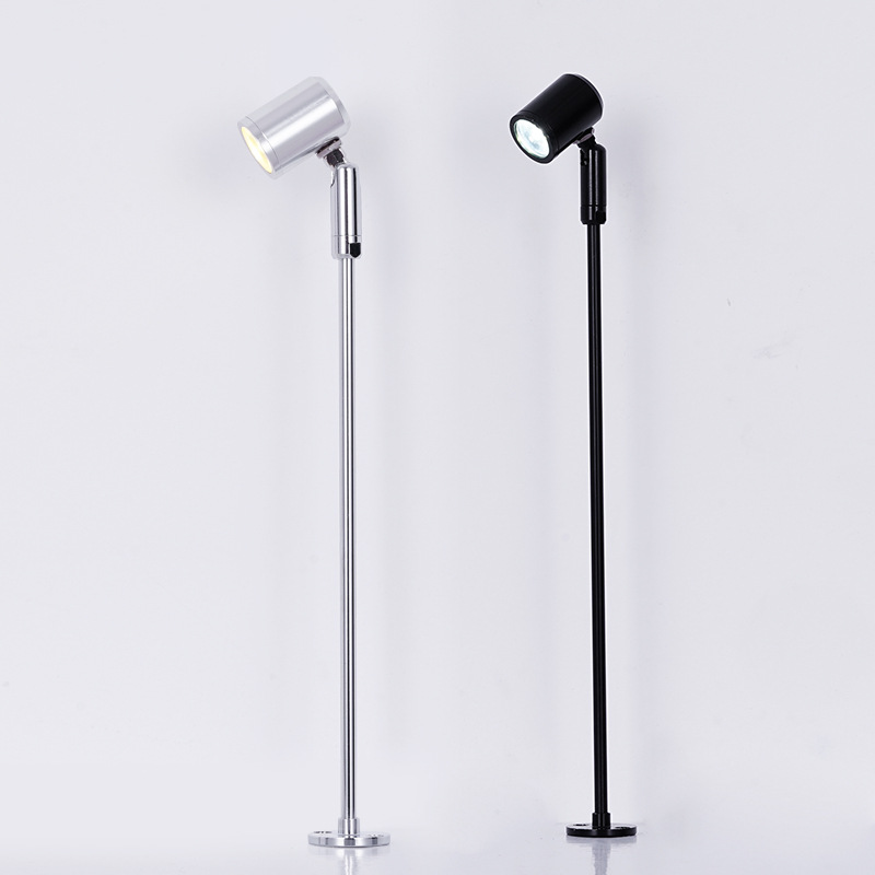LukLoy Small Spotlight Commercial Display Case Standing Pole Spot Light Cafe Bar Table Downlight Cabinet Down Light Floor Lamp