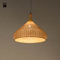 Delicate Bamboo Wicker Rattan Art Craft Basket Pendant Light Fixture Japanese Zen Miditation Nordic Hanging Ceiling Lamp Plafon