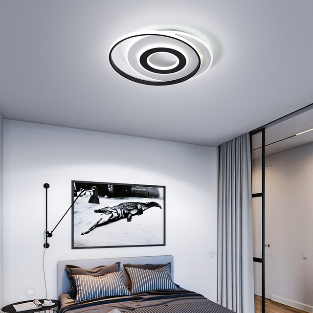LedLamp rodada lustre lustres Iluminação Lustre Moderno Preto e Branco para Sala de estar Quarto Cozinha lâmpada do teto Lustre