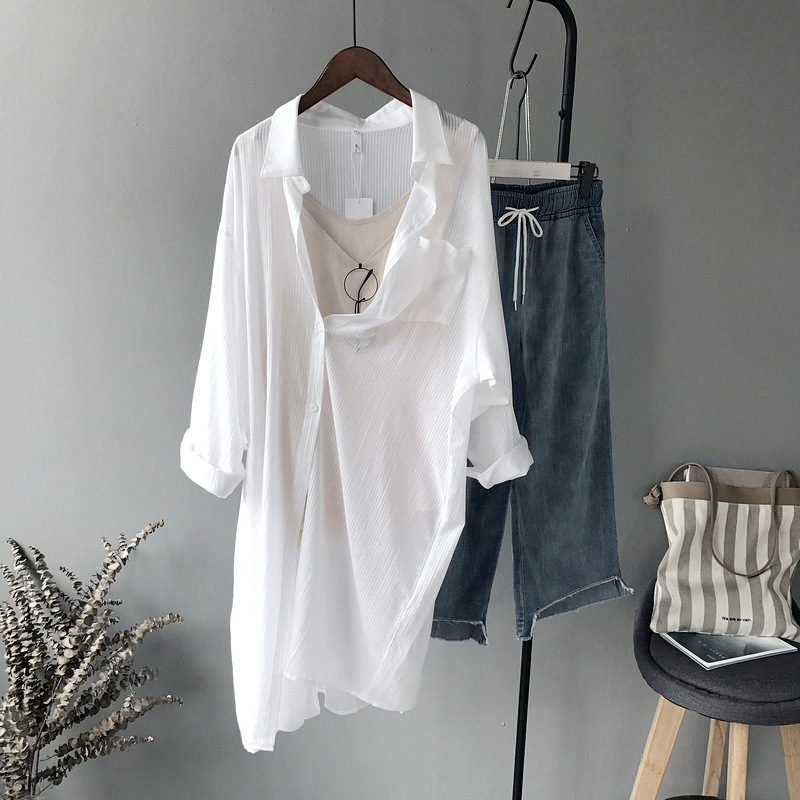 Womens Long White Blouses Spring Summer 2020 New Korean One Pockets Women's Shirt Lengthening Sunscreen Tops And Blouse In Stock