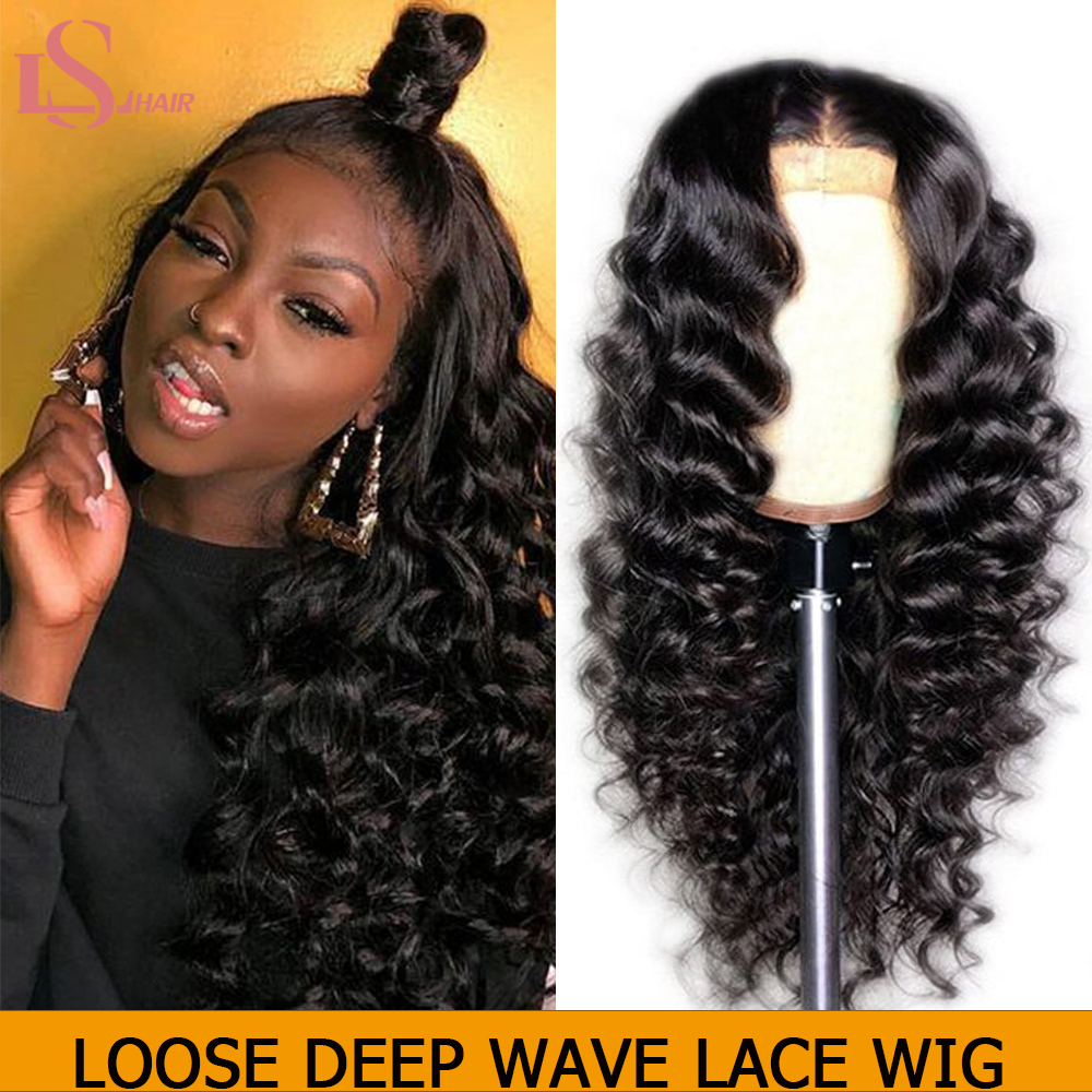 QT 13*4 Lace Front Human Hair Wigs Peruvian Loose Deep Wave For Black Women Pre-Plucked Lace Front Remy 150% Human Hair Wigs