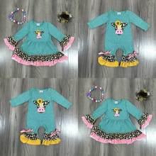Girlymax primavera/inverno bebê meninas vestido macacão algodão vaca girassol leopardo babados boutique crianças roupas combinar acessórios