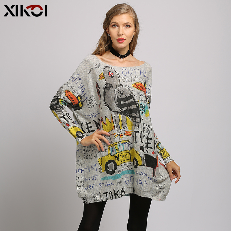 XIKOI Winter Sweaters For Women Oversized Pullovers Novel  Superman Animals Print Jumper Knitted Pull Femme Loose Pretty Clothes