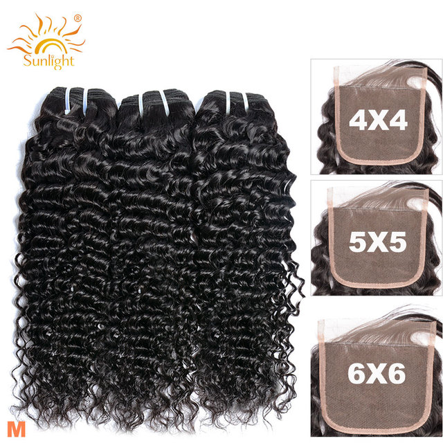$ US $48.53 10- 30 Inch Curly Wave Bundles With 5x5 Closure Sunlight Non-Remy Brazilian Human Hair Bundles With 6x6 Lace Closure and Bundles