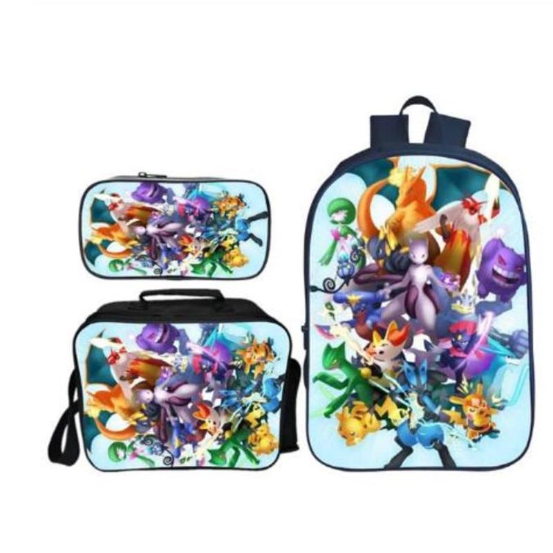 Pikachu Casual School Bags For Boys And Girls Mochila Gift New Arrivals 3 Pcs/Set Pokken Tournament School Backpack For Children