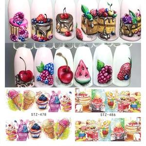 1PCS Summer Ice Cream Fruit Strawberry Cherry Cake Nail Art Water Transfer Sticker Decor Slider Decal Manicure Tool JISTZ474-488