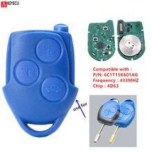 Keyecuリモートコントロールカーヘッドキーと3ボタン433mhz用4D63チップfob wm vm 2006 2007-2014 p/n: 6C1T15K601AG