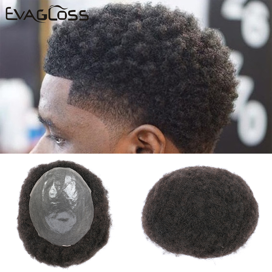 Luxury Men Toupee Afro Kinky Curly Wig Human Hair Male Hair Natural System Real Hair Pu Hairpiece Hair Toupee For Men Free Shipp