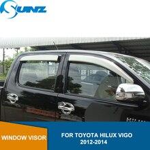 Plata ventana deflectores de viento de accesorios de ventana protector para lluvia para Toyota Hilux Vigo 2012 2013 lado 2014 ventana deflectores riovalle