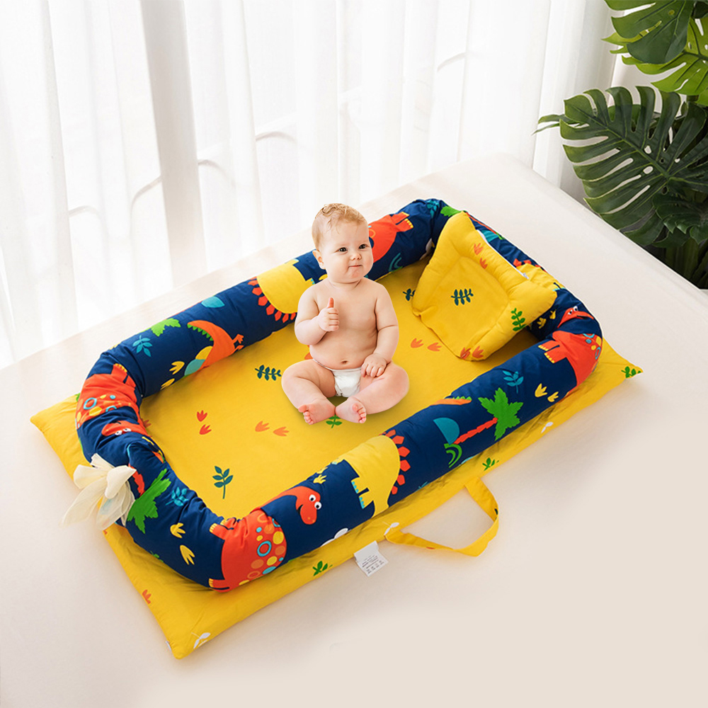 Baby Bed Portable Foldable Baby Crib Cartoon Kids Soft Cotton Nest Cradle Bedding Crib Child Nest Cotton Infant Travel Bed