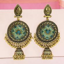 Indian Earrings for Women Jhumka Golden Tassel Big Bells Drop Earrings Craved Flower Afghan Egypt Gypsy Turk Ethnic Jewelry