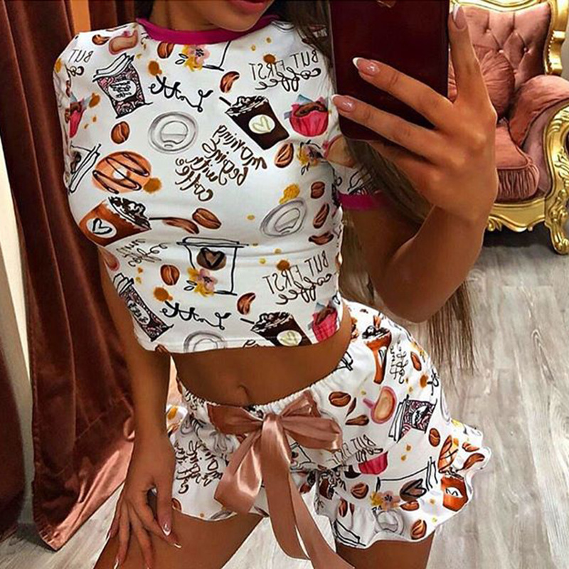 Cute Coconut Pattern Printing Two Piece Pajama Sets Sleepwear Women Fashion Casual Short Sleeve Crop Tops And Shorts Sexy Summer