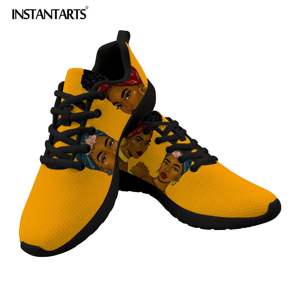Cheap INSTANTARTS Afro Queen Lady Spring Women Casual Vulcanize Shoes Breathable Air Mesh Flat Sneakers Lightweight Lacing Women Shoes