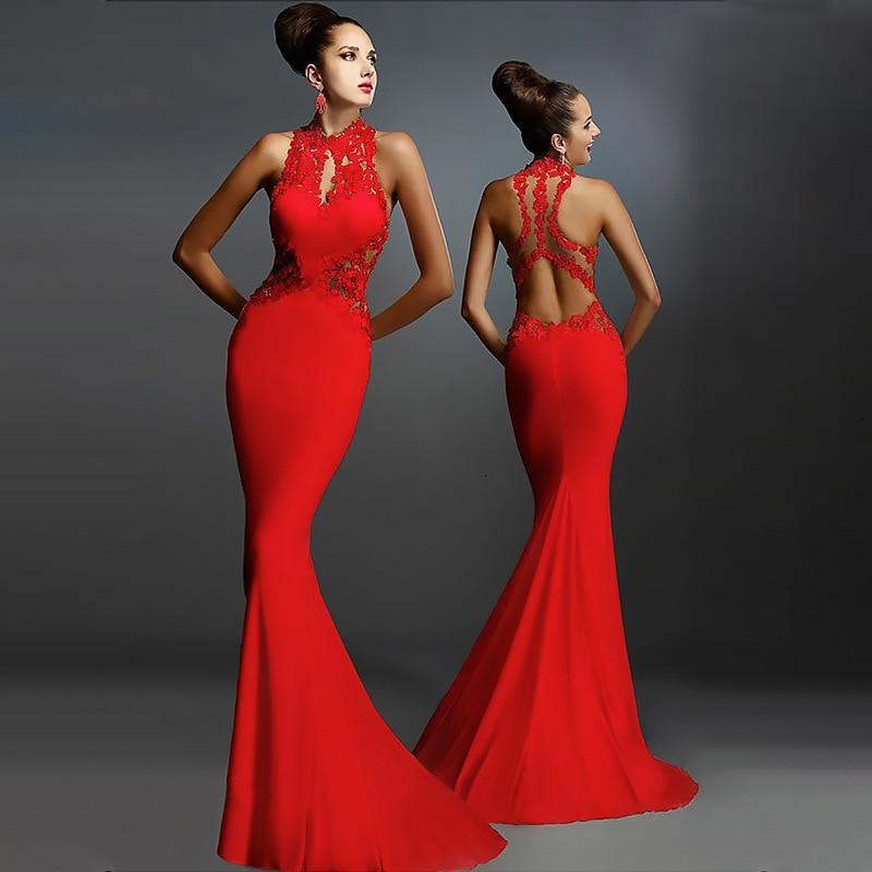 BacklakeGirls Applique Halter Neck Sleeveless Satin Mermaid Evening Dress Sexy Open Back Trumpt Party Dress Robe Longue Soiree