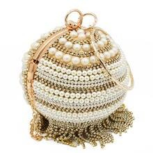 Boutique De FGG-Bolso De noche con borlas De cristal para mujer, elegante, redondo, con diamantes De imitación, De mano, con cuentas, para novia