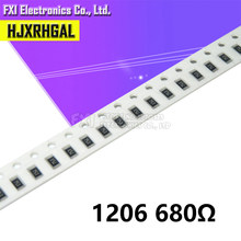 100 pçs 1206 smd resistor 680 ohm chip resistor 0.25 w 1/4 w 680r 681 novo original